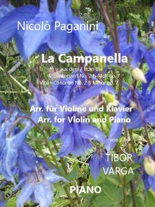 """Titelseite zu Tibor Vargas Arrangement von Paganinis """"Campanella"""" für Violine und Klavier: Klavierstimme"""