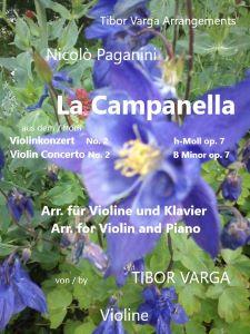 """Titelseite zu Tibor Vargas Arrangement von Paganinis """"Campanella"""" für Violine und Klavier: Violinstimme"""